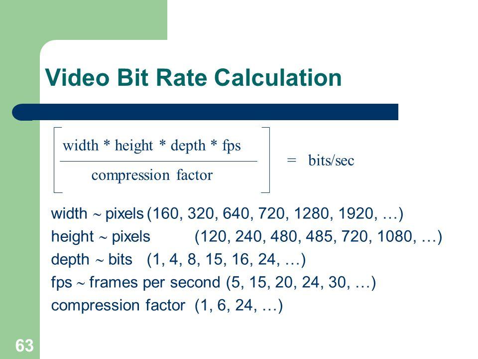 Video Bit Rate Calculation width  pixels(160, 320, 640, 720, 1280, 1920, …) height  pixels(120, 240, 480, 485, 720, 1080, …) depth  bits(1, 4, 8,