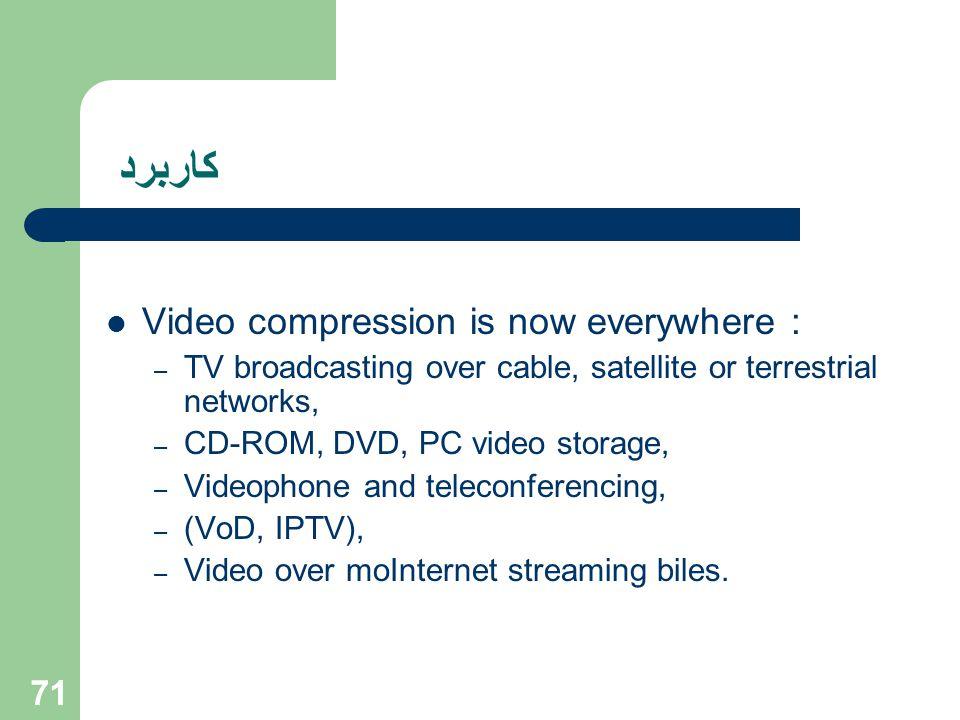 كاربرد Video compression is now everywhere : – TV broadcasting over cable, satellite or terrestrial networks, – CD-ROM, DVD, PC video storage, – Video