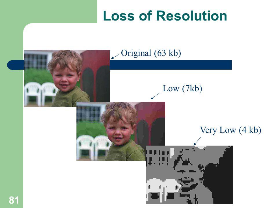 Loss of Resolution Original (63 kb) Low (7kb) Very Low (4 kb) 81