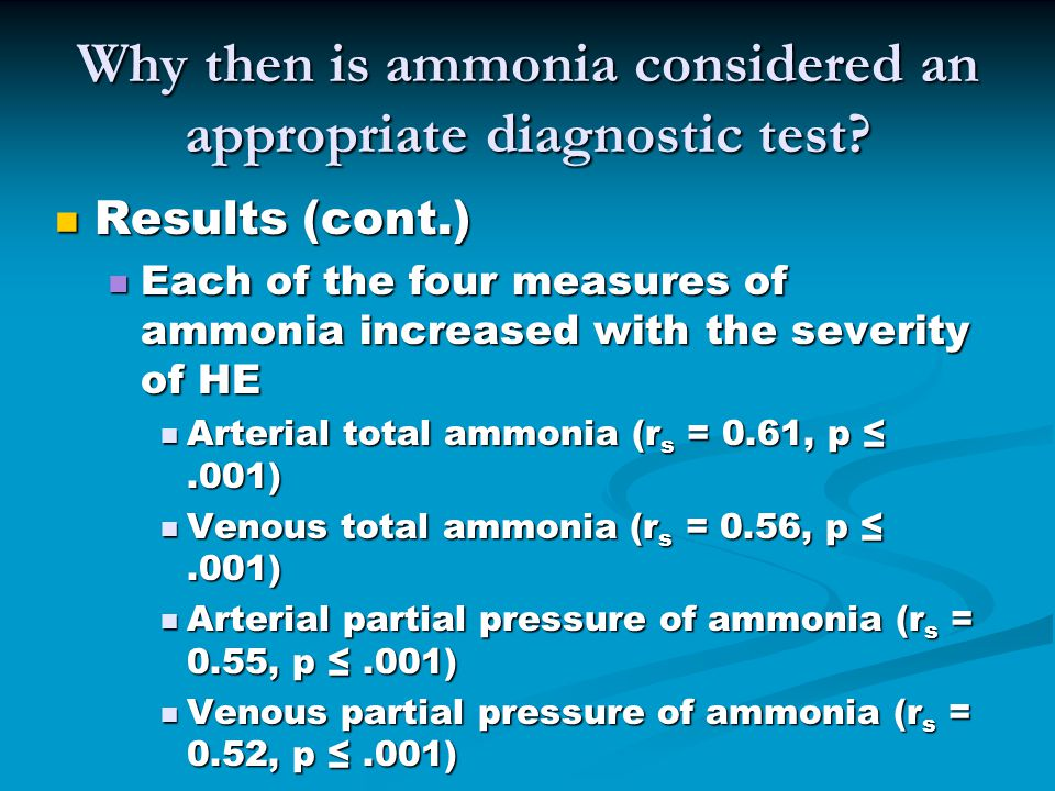 Why then is ammonia considered an appropriate diagnostic test.