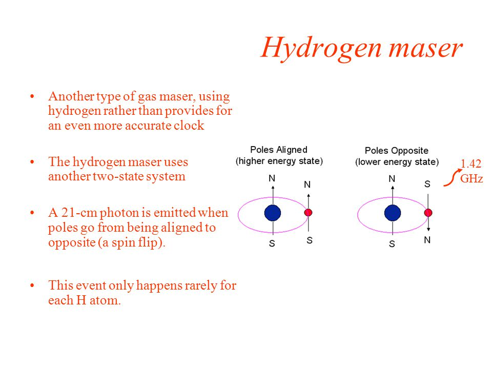 1.42 GHz Hydrogen maser Another type of gas maser, using hydrogen rather than provides for an even more accurate clock The hydrogen maser uses another two-state system A 21-cm photon is emitted when poles go from being aligned to opposite (a spin flip).