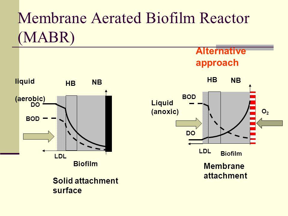 Membrane Aerated Biofilm Reactor (MABR) Biofilm liquid (aerobic) Solid attachment surface DO BOD NB LDL HB Biofilm Membrane attachment Liquid (anoxic)