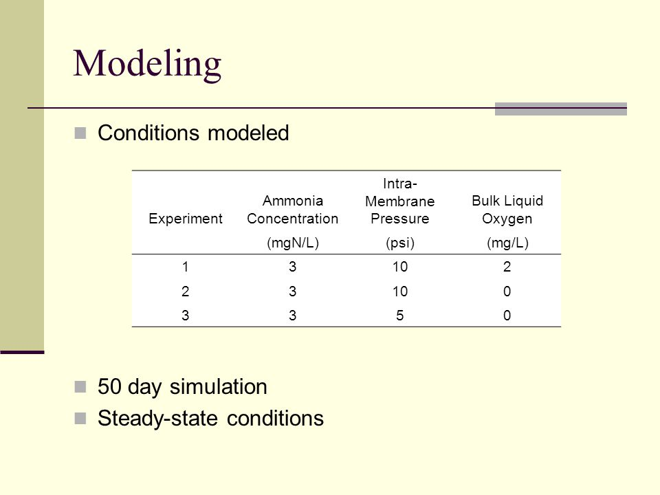 Modeling Conditions modeled 50 day simulation Steady-state conditions Experiment Ammonia Concentration Intra- Membrane Pressure Bulk Liquid Oxygen (mg