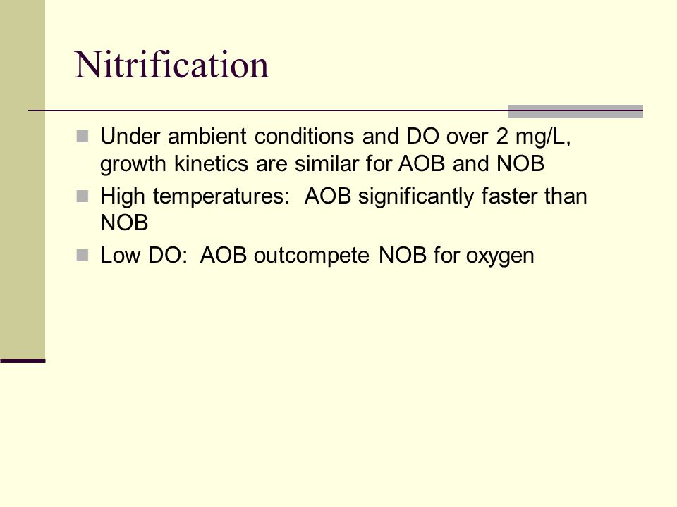 Nitrification Under ambient conditions and DO over 2 mg/L, growth kinetics are similar for AOB and NOB High temperatures: AOB significantly faster tha