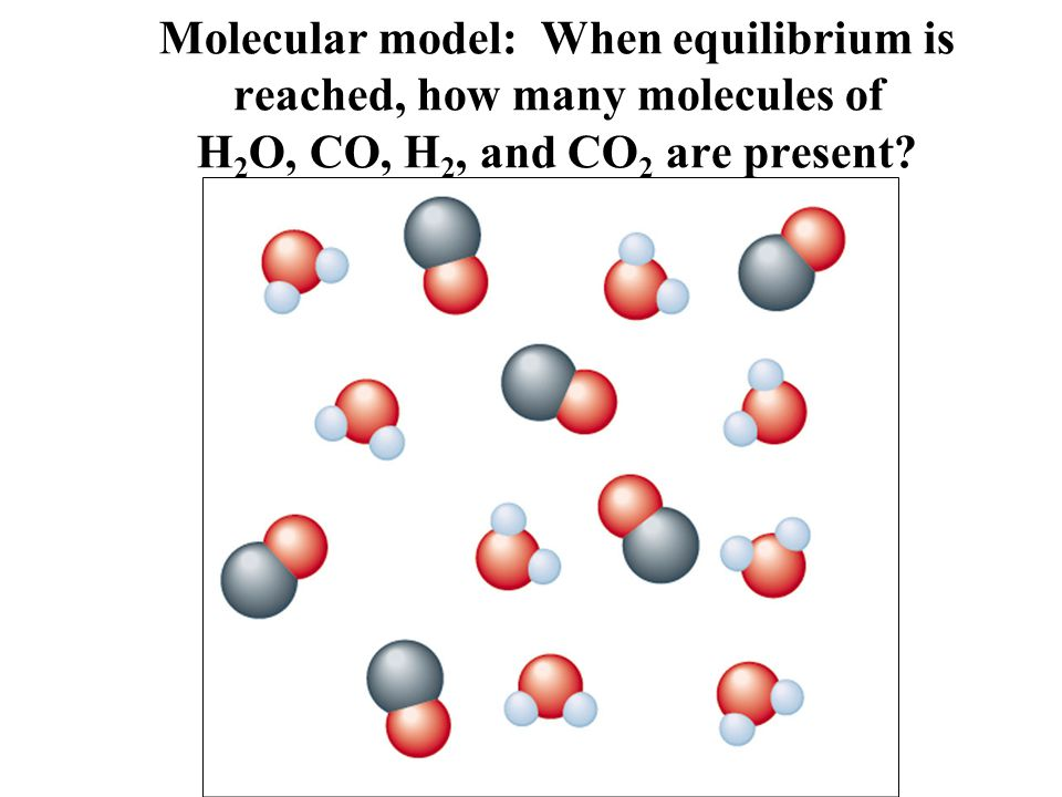 Molecular model: When equilibrium is reached, how many molecules of H 2 O, CO, H 2, and CO 2 are present?