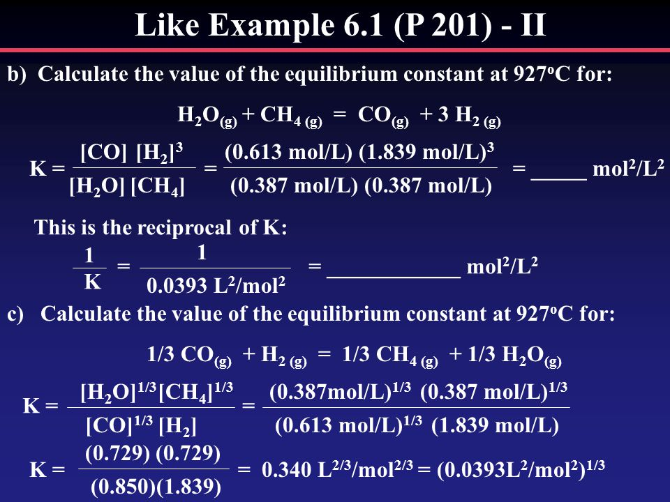 Like Example 6.1 (P 201) - II b)Calculate the value of the equilibrium constant at 927 o C for: H 2 O (g) + CH 4 (g) = CO (g) + 3 H 2 (g) K = = = _____ mol 2 /L 2 [CO][H 2 ] 3 [CH 4 ][H 2 O] (0.613 mol/L)(1.839 mol/L) 3 (0.387 mol/L) This is the reciprocal of K: 1K1K = = ____________ mol 2 /L 2 1 0.0393 L 2 /mol 2 c)Calculate the value of the equilibrium constant at 927 o C for: 1/3 CO (g) + H 2 (g) = 1/3 CH 4 (g) + 1/3 H 2 O (g) K = = [CO] 1/3 [H 2 ] [H 2 O] 1/3 [CH 4 ] 1/3 (0.387mol/L) 1/3 (0.613 mol/L) 1/3 (1.839 mol/L) K = = 0.340 L 2/3 /mol 2/3 = (0.0393L 2 /mol 2 ) 1/3 (0.729) (0.850)(1.839)