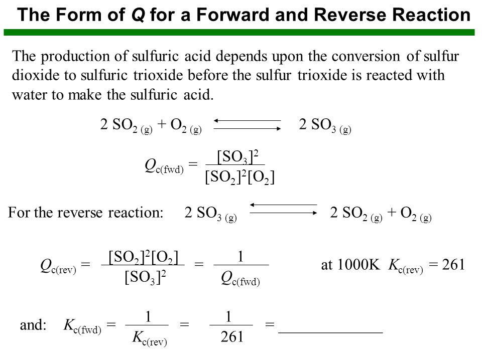 The Form of Q for a Forward and Reverse Reaction The production of sulfuric acid depends upon the conversion of sulfur dioxide to sulfuric trioxide before the sulfur trioxide is reacted with water to make the sulfuric acid.