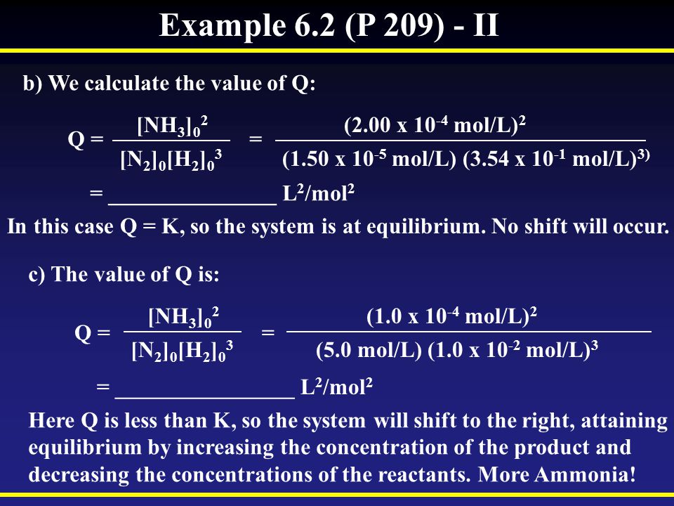Example 6.2 (P 209) - II b) We calculate the value of Q: [NH 3 ] 0 2 [N 2 ] 0 [H 2 ] 0 3 Q = = = _______________ L 2 /mol 2 (2.00 x 10 -4 mol/L) 2 (1.50 x 10 -5 mol/L) (3.54 x 10 -1 mol/L) 3) In this case Q = K, so the system is at equilibrium.