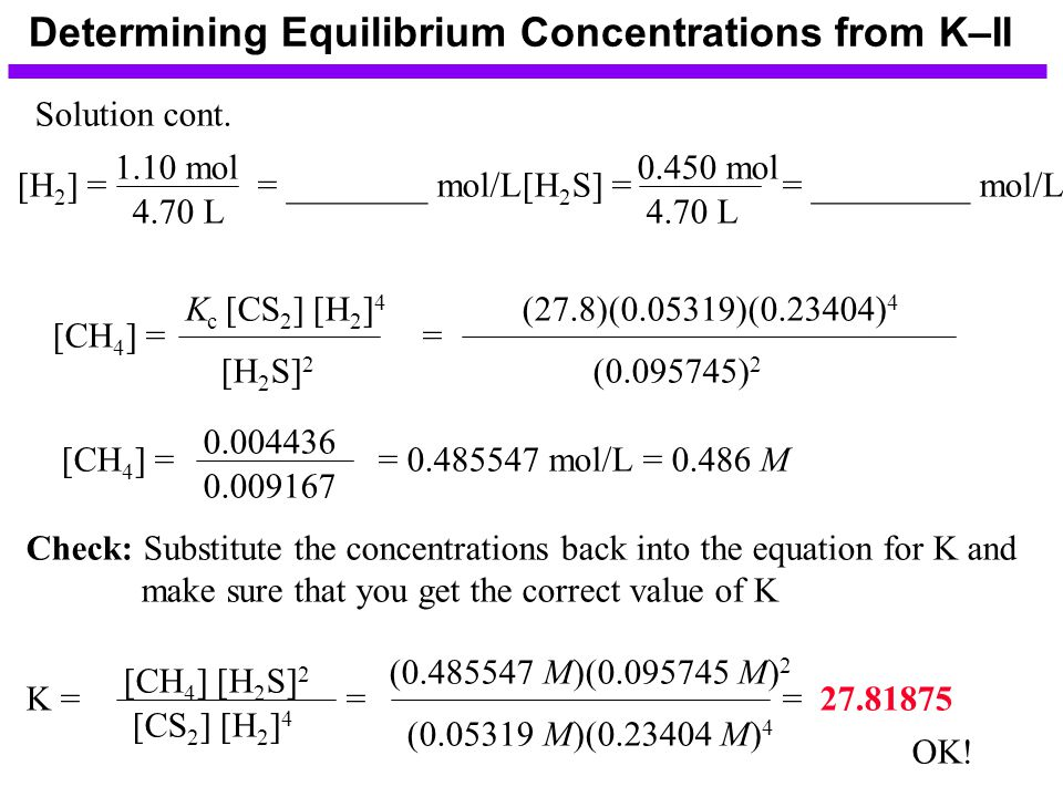 Determining Equilibrium Concentrations from K–II Solution cont.
