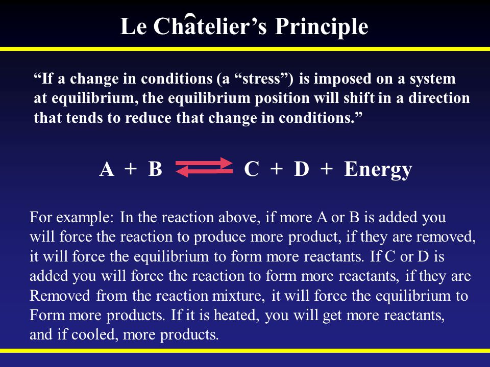 Le Chatelier's Principle If a change in conditions (a stress ) is imposed on a system at equilibrium, the equilibrium position will shift in a direction that tends to reduce that change in conditions. A + B C + D + Energy For example: In the reaction above, if more A or B is added you will force the reaction to produce more product, if they are removed, it will force the equilibrium to form more reactants.
