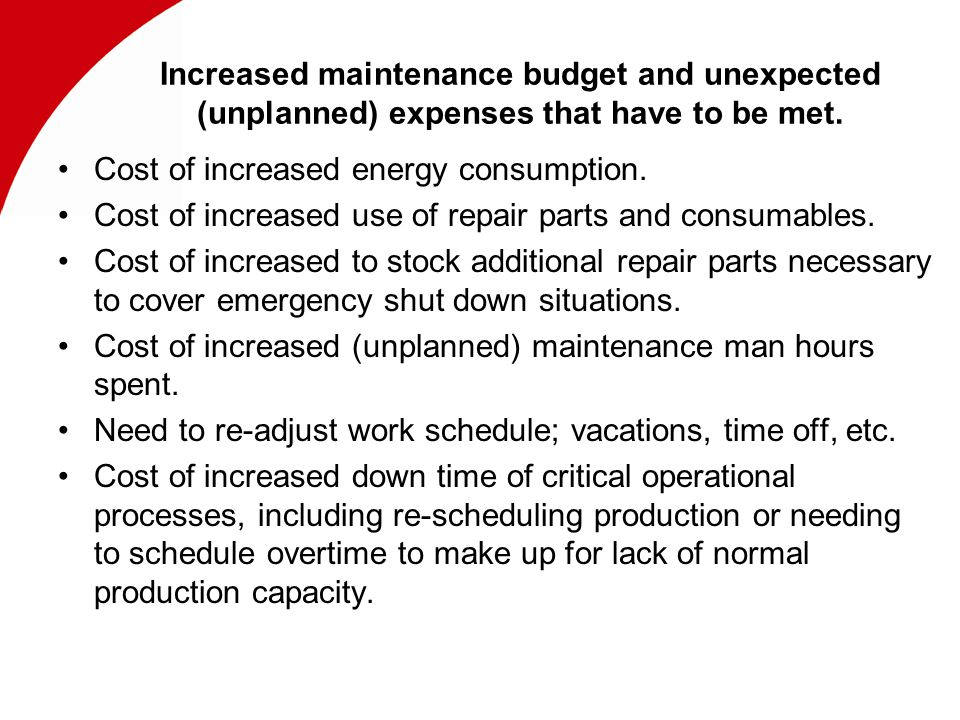 Increased maintenance budget and unexpected (unplanned) expenses that have to be met.
