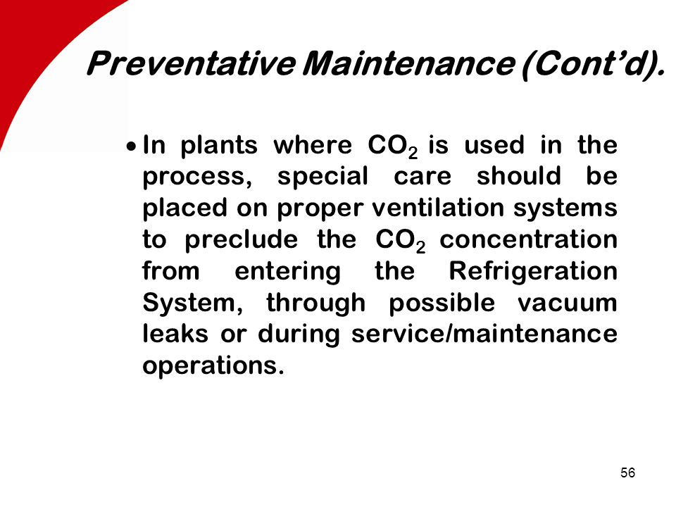 56 Preventative Maintenance (Cont'd).