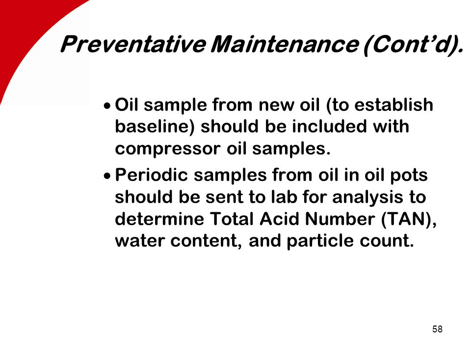 58 Preventative Maintenance (Cont'd).