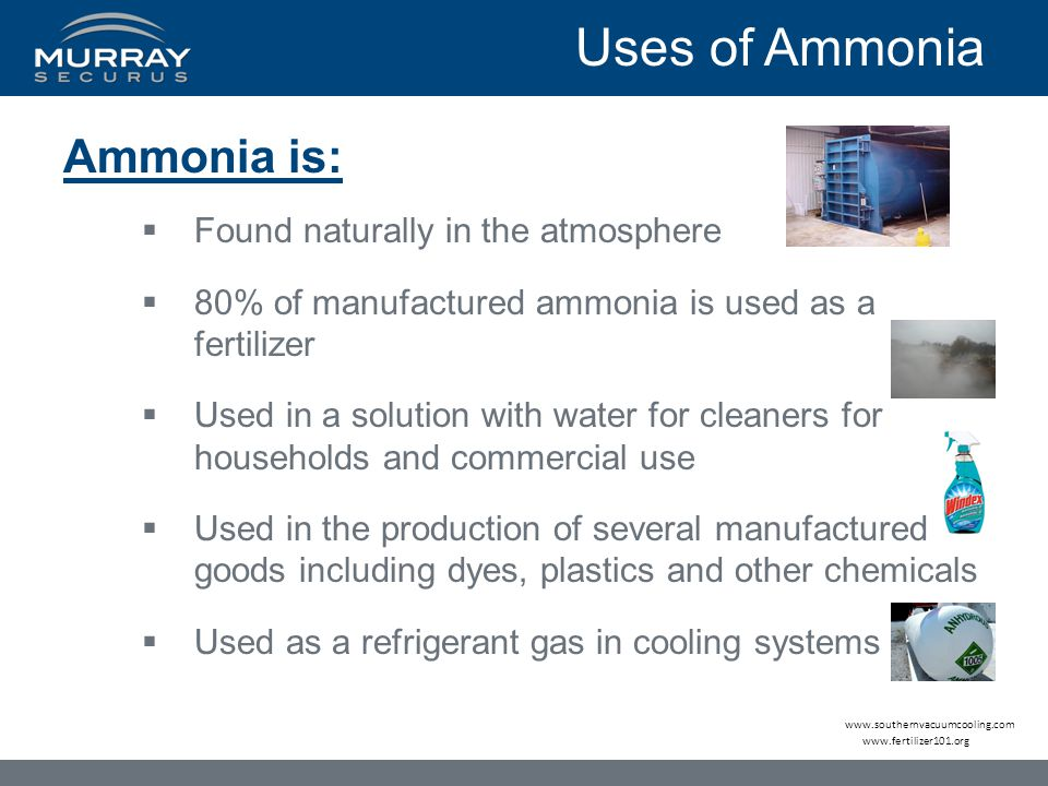 Ammonia is:  Found naturally in the atmosphere  80% of manufactured ammonia is used as a fertilizer  Used in a solution with water for cleaners for households and commercial use  Used in the production of several manufactured goods including dyes, plastics and other chemicals  Used as a refrigerant gas in cooling systems www.fertilizer101.org Uses of Ammonia www.southernvacuumcooling.com