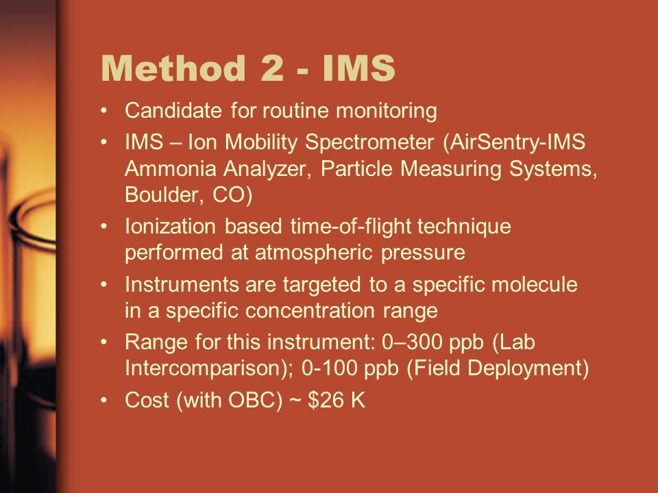 Method 2 - IMS Candidate for routine monitoring IMS – Ion Mobility Spectrometer (AirSentry-IMS Ammonia Analyzer, Particle Measuring Systems, Boulder,