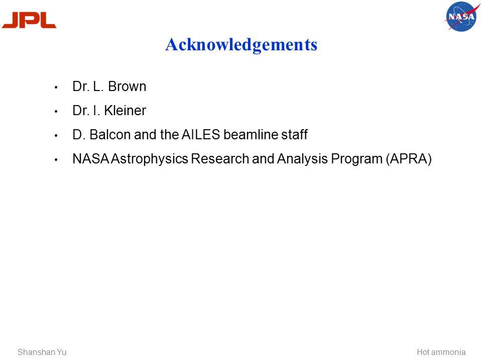 Acknowledgements Shanshan YuHot ammonia Dr. L. Brown Dr.