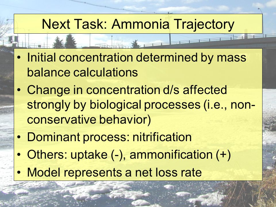 Next Task: Ammonia Trajectory Initial concentration determined by mass balance calculations Change in concentration d/s affected strongly by biological processes (i.e., non- conservative behavior) Dominant process: nitrification Others: uptake (-), ammonification (+) Model represents a net loss rate