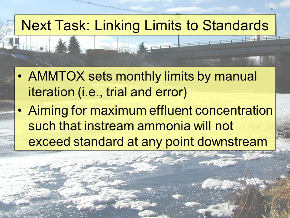 Next Task: Linking Limits to Standards AMMTOX sets monthly limits by manual iteration (i.e., trial and error) Aiming for maximum effluent concentration such that instream ammonia will not exceed standard at any point downstream