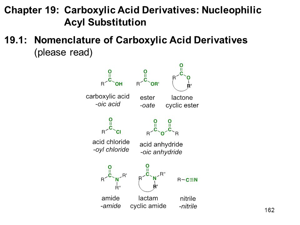162 Chapter 19: Carboxylic Acid Derivatives: Nucleophilic Acyl Substitution 19.1: Nomenclature of Carboxylic Acid Derivatives (please read)