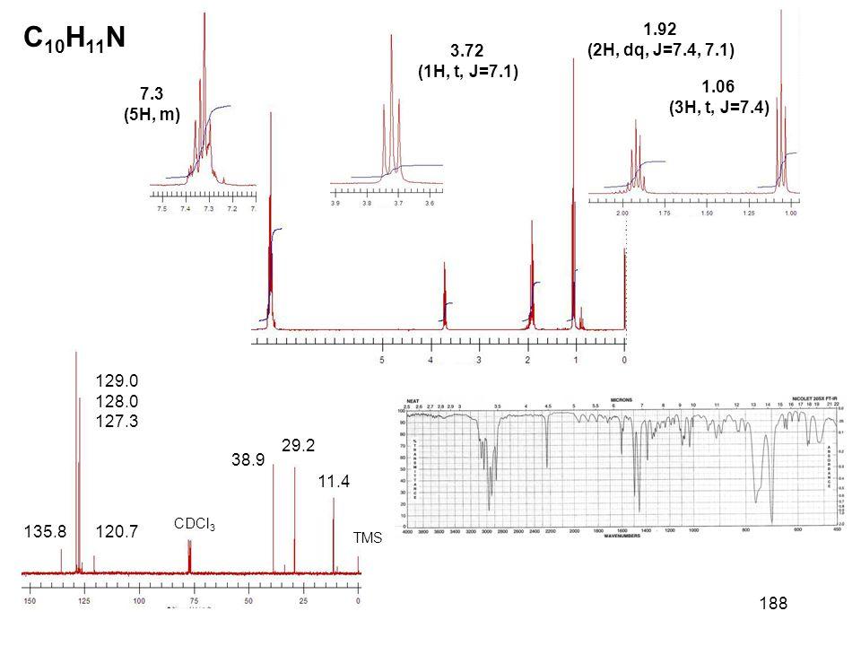 188 C 10 H 11 N 7.3 (5H, m) 3.72 (1H, t, J=7.1) 1.06 (3H, t, J=7.4) 1.92 (2H, dq, J=7.4, 7.1) CDCl 3 TMS 120.7 129.0 128.0 127.3 135.8 38.9 29.2 11.4