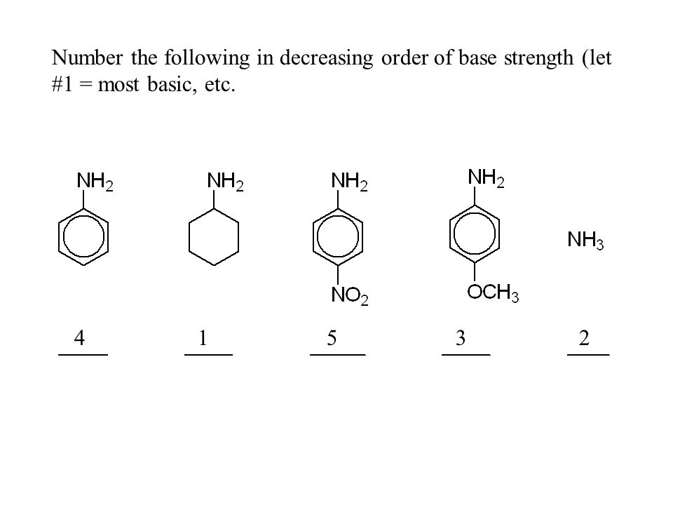 Number the following in decreasing order of base strength (let #1 = most basic, etc. 4 1 5 3 2