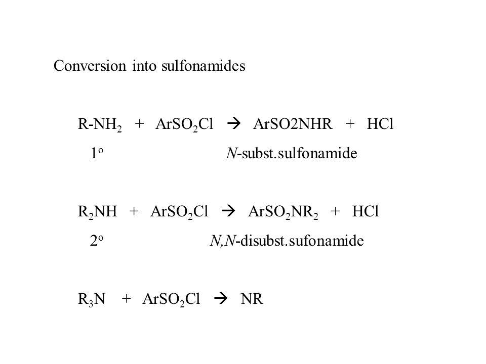 Conversion into sulfonamides R-NH 2 + ArSO 2 Cl  ArSO2NHR + HCl 1 o N-subst.sulfonamide R 2 NH + ArSO 2 Cl  ArSO 2 NR 2 + HCl 2 o N,N-disubst.sufonamide R 3 N + ArSO 2 Cl  NR