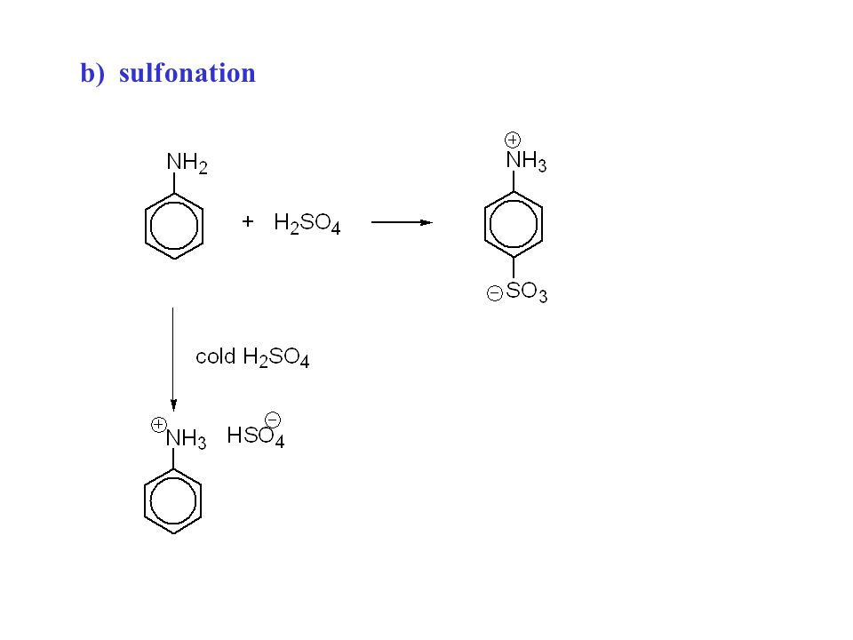 b) sulfonation