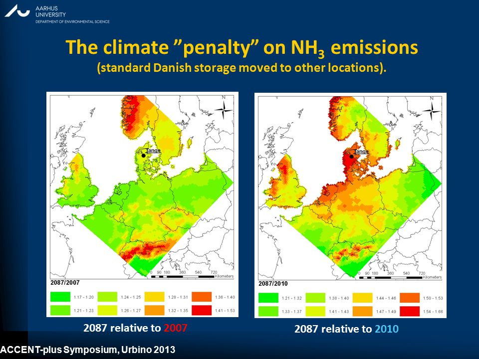 ACCENT-plus Symposium, Urbino 2013 The climate penalty on NH 3 emissions (standard Danish storage moved to other locations).