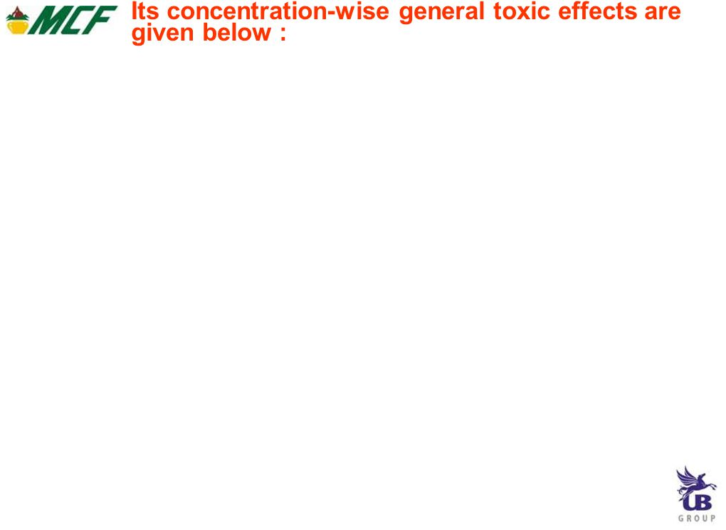 Its concentration-wise general toxic effects are given below :
