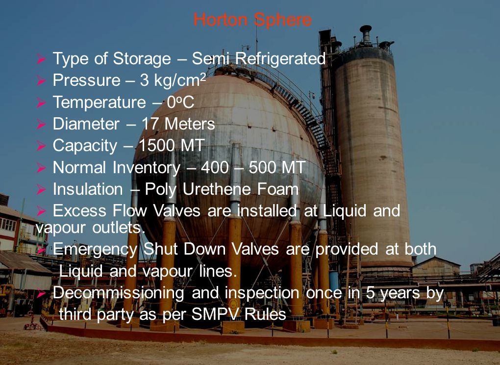 Horton Sphere  Type of Storage – Semi Refrigerated  Pressure – 3 kg/cm 2  Temperature – 0 o C  Diameter – 17 Meters  Capacity – 1500 MT  Normal Inventory – 400 – 500 MT  Insulation – Poly Urethene Foam  Excess Flow Valves are installed at Liquid and vapour outlets.