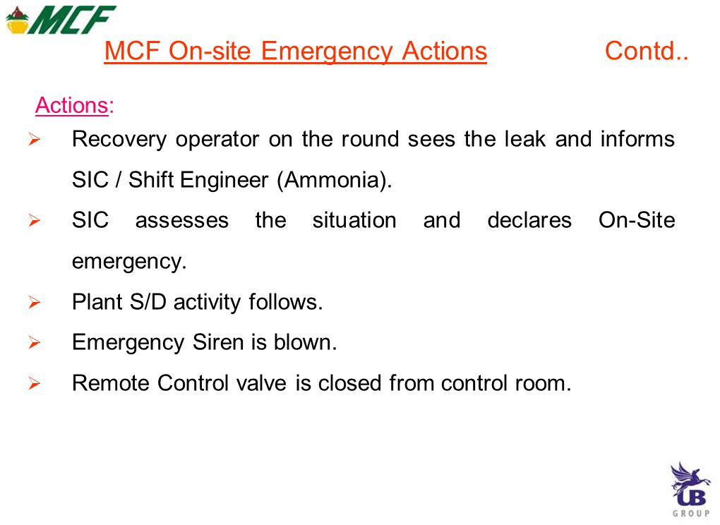 Incident: Release of Ammonia from Horton Sphere outlet line failure at the down stream of Emergency Shut Down Valve 554. MCF On-site Emergency Actions