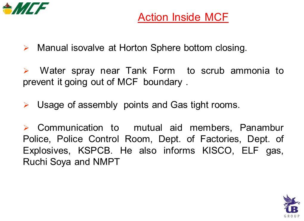 Action Inside MCF  Manual isovalve at Horton Sphere bottom closing.