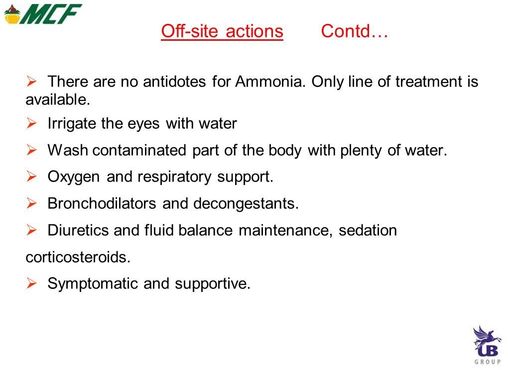 There are no antidotes for Ammonia.Only line of treatment is available.