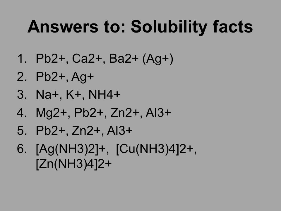 Answers to: Solubility facts 1.Pb2+, Ca2+, Ba2+ (Ag+) 2.Pb2+, Ag+ 3.Na+, K+, NH4+ 4.Mg2+, Pb2+, Zn2+, Al3+ 5.Pb2+, Zn2+, Al3+ 6.[Ag(NH3)2]+, [Cu(NH3)4