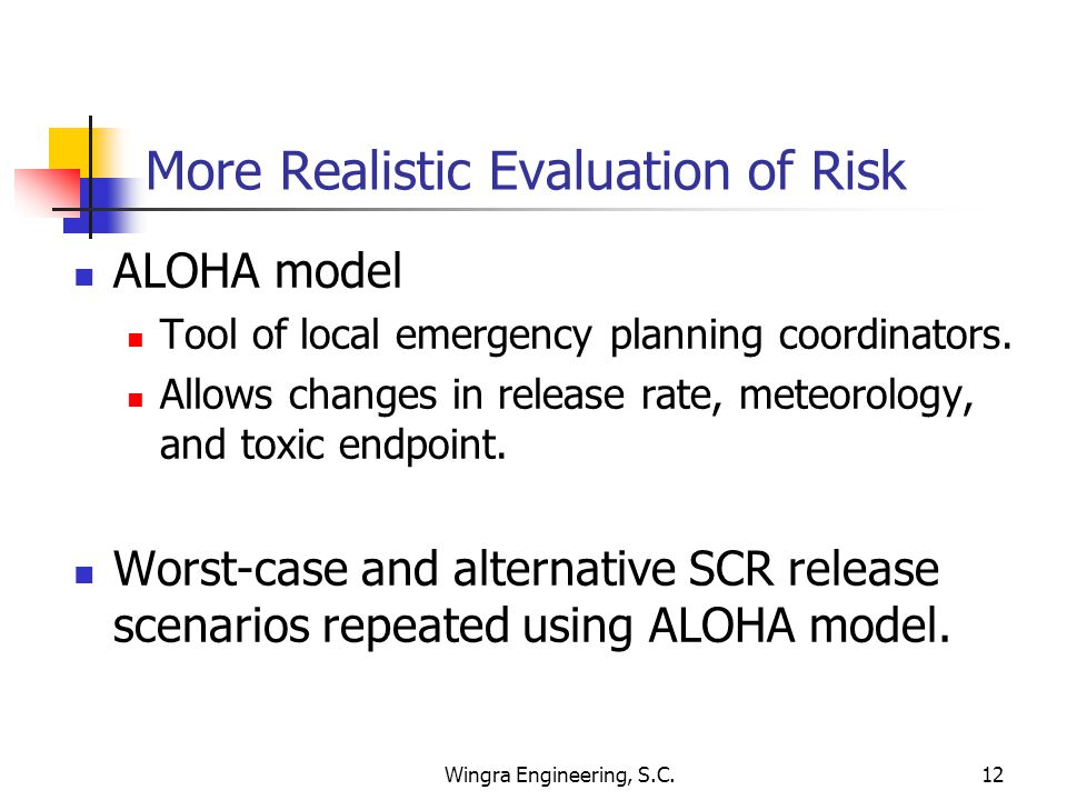 Wingra Engineering, S.C.12 More Realistic Evaluation of Risk ALOHA model Tool of local emergency planning coordinators.