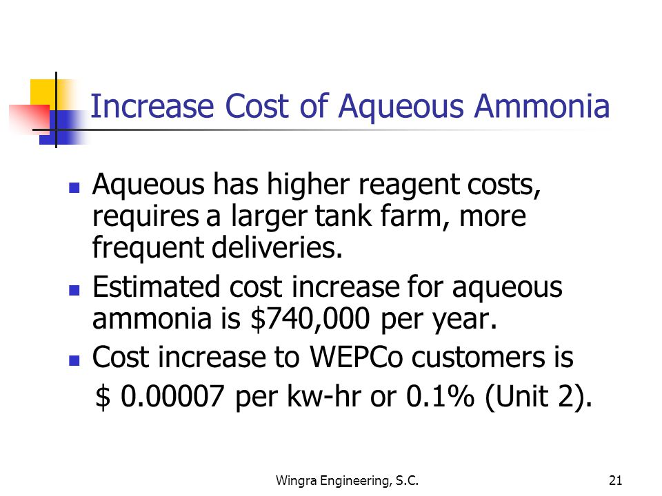 Wingra Engineering, S.C.21 Increase Cost of Aqueous Ammonia Aqueous has higher reagent costs, requires a larger tank farm, more frequent deliveries.