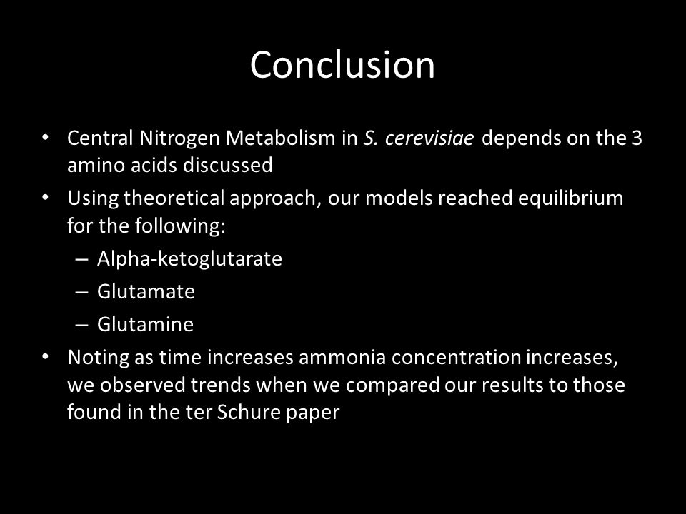 Conclusion Central Nitrogen Metabolism in S.