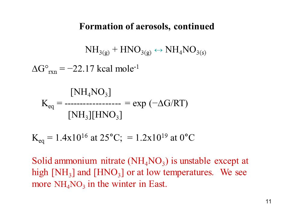 11 Formation of aerosols, continued NH 3(g) + HNO 3(g) ↔ NH 4 NO 3(s)  G° rxn = −22.17 kcal mole -1 [NH 4 NO 3 ] K eq = ------------------ = exp (−  G/RT) [NH 3 ][HNO 3 ] K eq = 1.4x10 16 at 25°C; = 1.2x10 19 at 0°C Solid ammonium nitrate (NH 4 NO 3 ) is unstable except at high [NH 3 ] and [HNO 3 ] or at low temperatures.