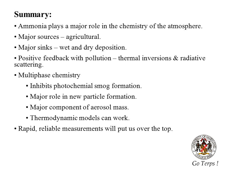 29 Summary: Ammonia plays a major role in the chemistry of the atmosphere.