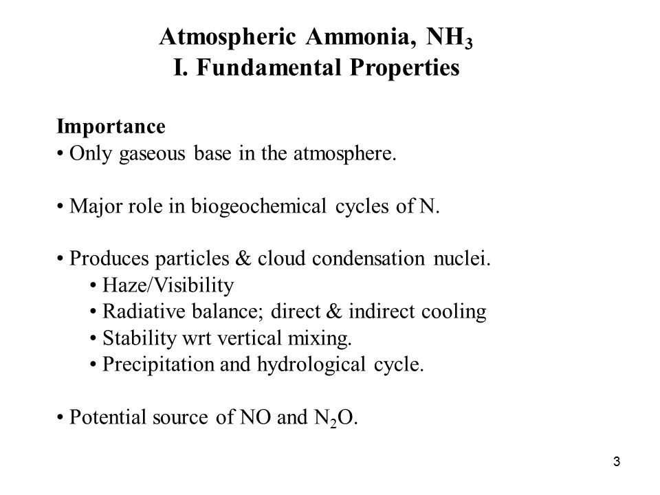3 Atmospheric Ammonia, NH 3 I.