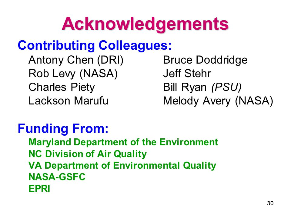 30 Acknowledgements Contributing Colleagues: Antony Chen (DRI)Bruce Doddridge Rob Levy (NASA)Jeff Stehr Charles PietyBill Ryan (PSU) Lackson Marufu Melody Avery (NASA) Funding From: Maryland Department of the Environment NC Division of Air Quality VA Department of Environmental Quality NASA-GSFC EPRI