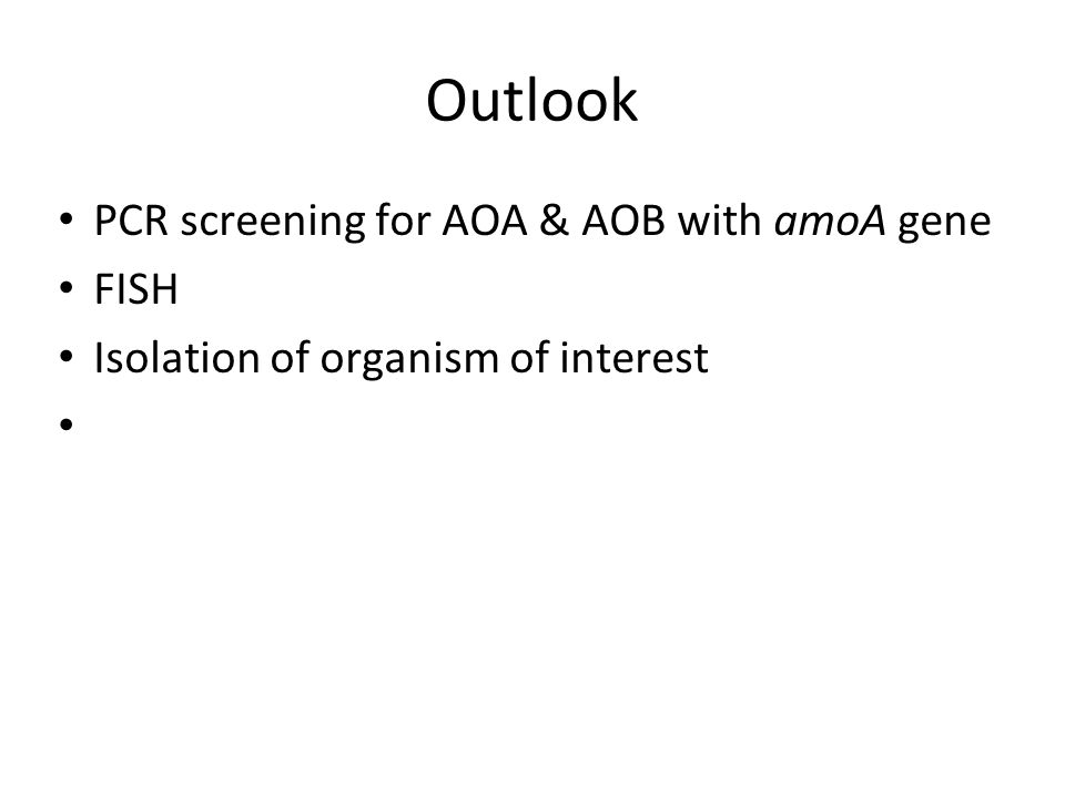 Outlook PCR screening for AOA & AOB with amoA gene FISH Isolation of organism of interest