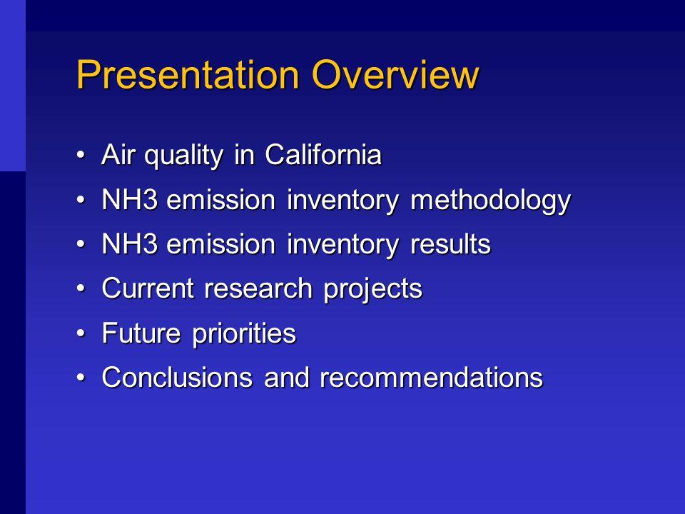Estimating Ammonia Emissions in California Dr. Michael T.