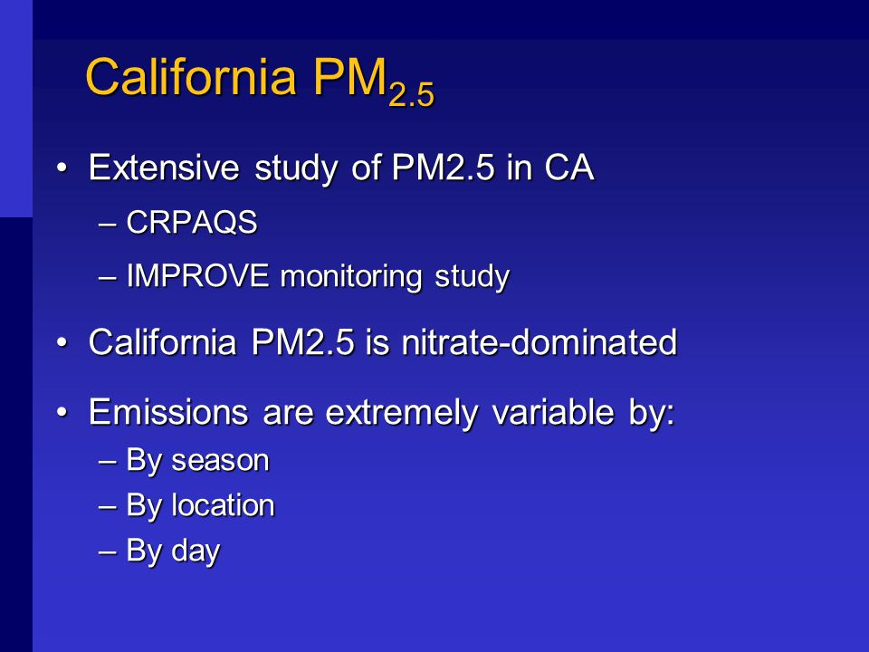 Conclusions Most significant California NH 3 sources:Most significant California NH 3 sources: –Livestock (38%) –Natural soils and vegetation (38%) –Fertilizer application (7%) –Burning (5%) –On-road mobile sources (4%) Source contributions vary locallySource contributions vary locally Air quality modeling needed to assess actual contribution to PM 2.5 formationAir quality modeling needed to assess actual contribution to PM 2.5 formation