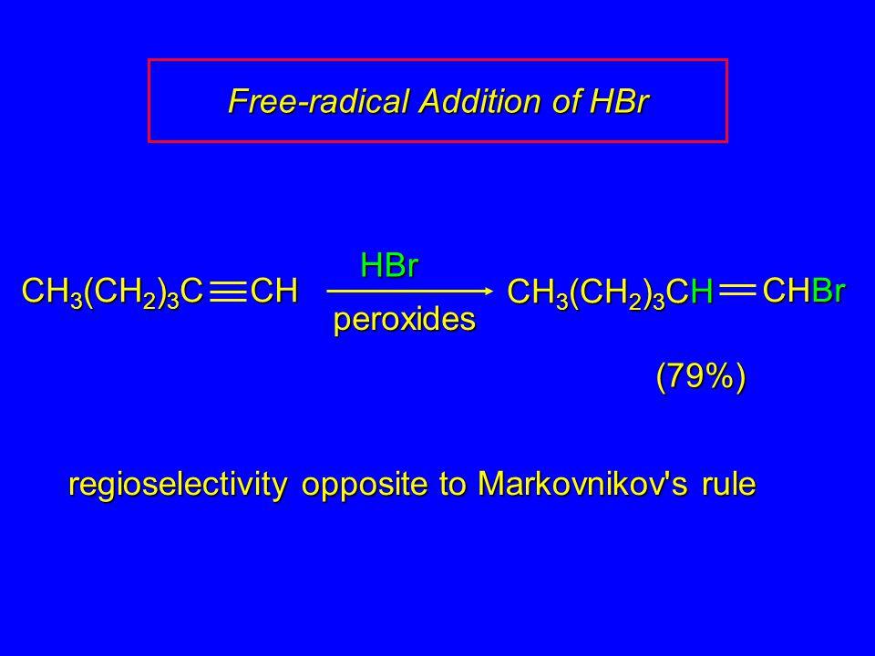 HBr (79%) regioselectivity opposite to Markovnikov s rule CH 3 (CH 2 ) 3 C CH CH 3 (CH 2 ) 3 CH CHBr peroxides Free-radical Addition of HBr