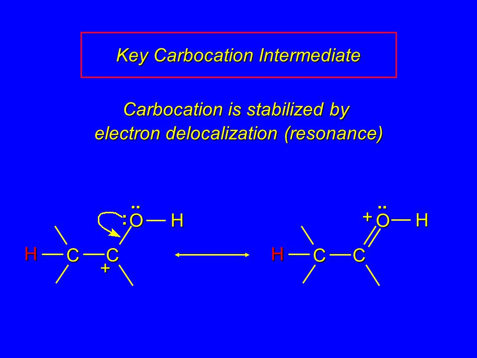 Carbocation is stabilized by electron delocalization (resonance) H O C C H..H + Key Carbocation Intermediate O C C H +..: