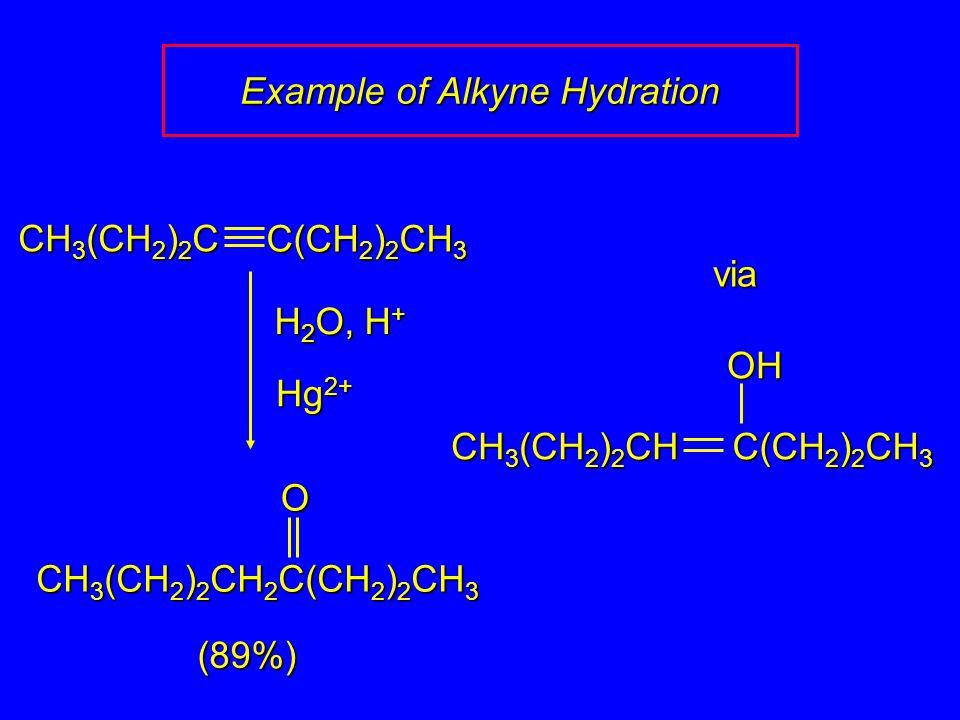 H 2 O, H + (89%) via CH 3 (CH 2 ) 2 C C(CH 2 ) 2 CH 3 Hg 2+ O CH 3 (CH 2 ) 2 CH 2 C(CH 2 ) 2 CH 3 OH CH 3 (CH 2 ) 2 CH C(CH 2 ) 2 CH 3 Example of Alkyne Hydration