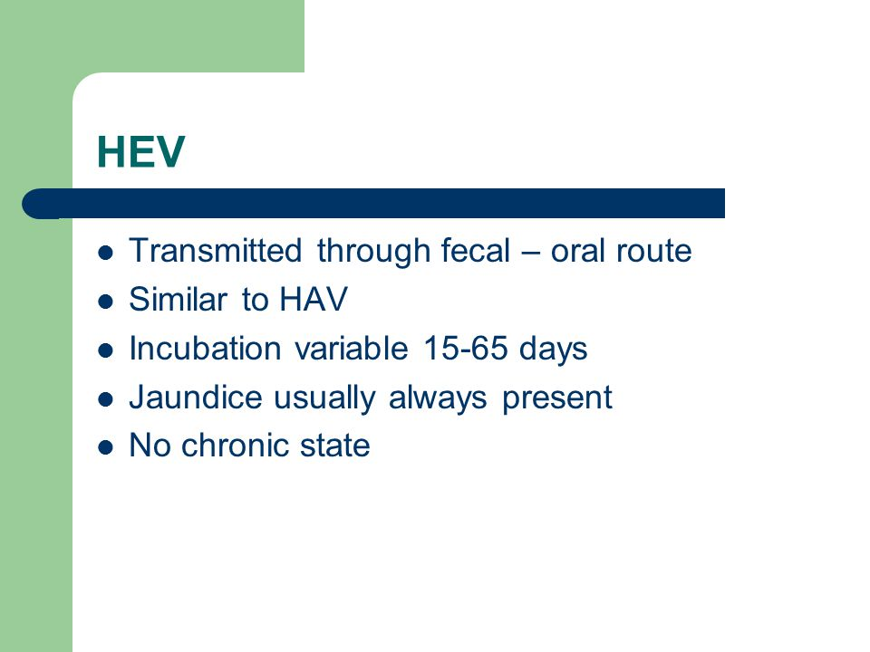 HEV Transmitted through fecal – oral route Similar to HAV Incubation variable 15-65 days Jaundice usually always present No chronic state