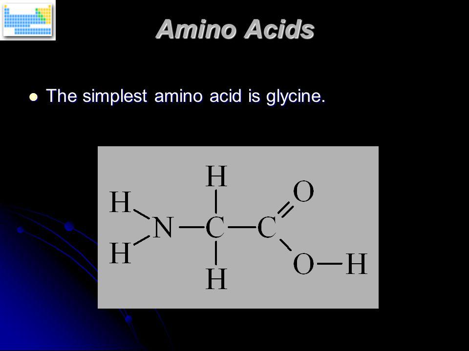 Amino Acids The simplest amino acid is glycine. The simplest amino acid is glycine.