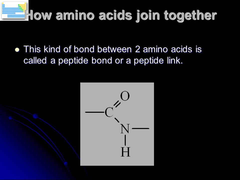 How amino acids join together This kind of bond between 2 amino acids is called a peptide bond or a peptide link.